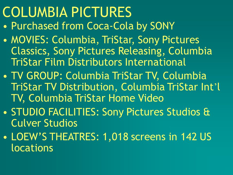 COLUMBIA PICTURES Purchased from Coca-Cola by SONY MOVIES: Columbia, TriStar, Sony Pictures Classics, Sony Pictures Releasing, Columbia TriStar Film Distributors International TV GROUP: Columbia TriStar TV, Columbia TriStar TV Distribution, Columbia TriStar Int ' l TV, Columbia TriStar Home Video STUDIO FACILITIES: Sony Pictures Studios & Culver Studios LOEW'S THEATRES: 1,018 screens in 142 US locations