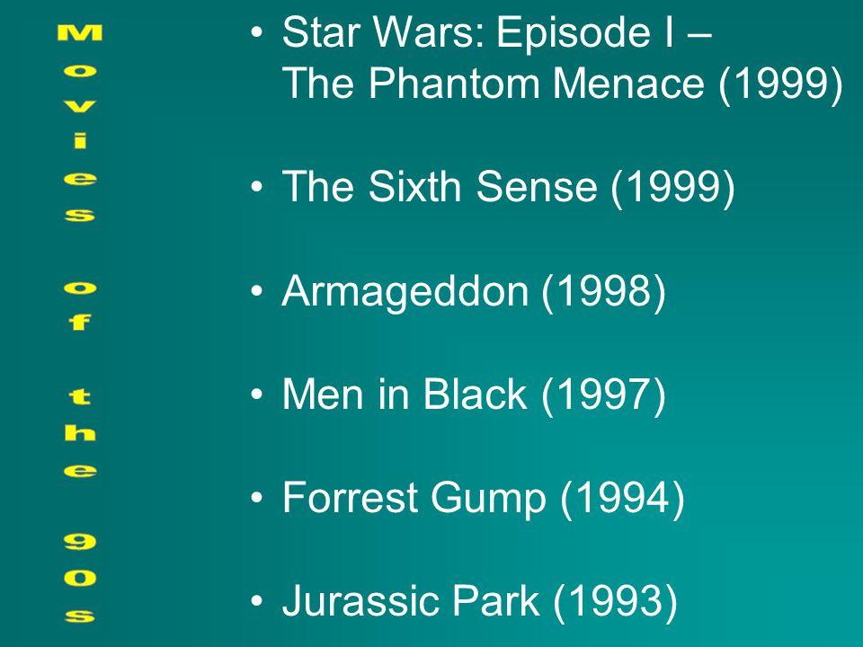 Star Wars: Episode I – The Phantom Menace (1999) The Sixth Sense (1999) Armageddon (1998) Men in Black (1997) Forrest Gump (1994) Jurassic Park (1993)