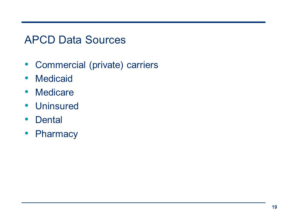APCD Data Sources Commercial (private) carriers Medicaid Medicare Uninsured Dental Pharmacy 19