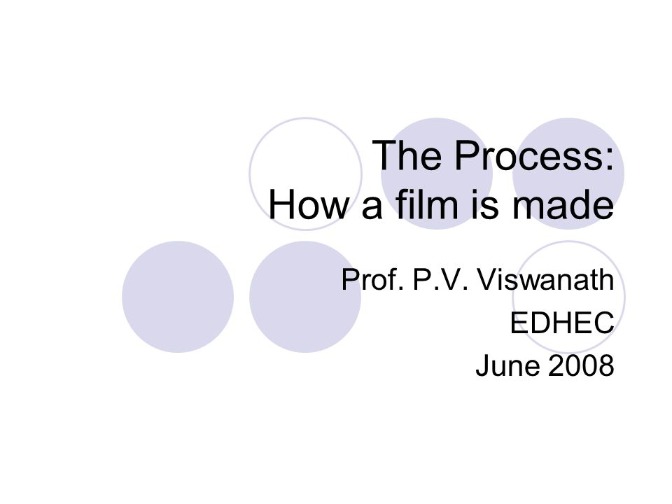 The Process: How a film is made Prof. P.V. Viswanath EDHEC June 2008