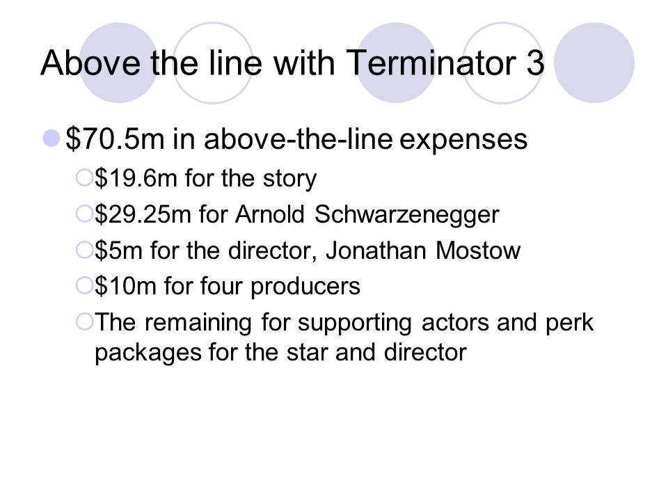 Above the line with Terminator 3 $70.5m in above-the-line expenses  $19.6m for the story  $29.25m for Arnold Schwarzenegger  $5m for the director, Jonathan Mostow  $10m for four producers  The remaining for supporting actors and perk packages for the star and director