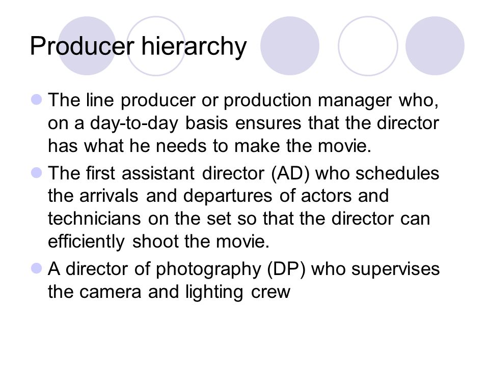 Producer hierarchy The line producer or production manager who, on a day-to-day basis ensures that the director has what he needs to make the movie.