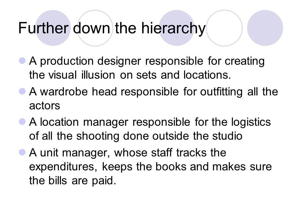 Further down the hierarchy A production designer responsible for creating the visual illusion on sets and locations.