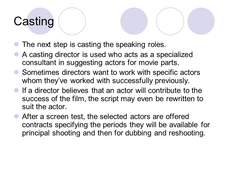 Casting The next step is casting the speaking roles.