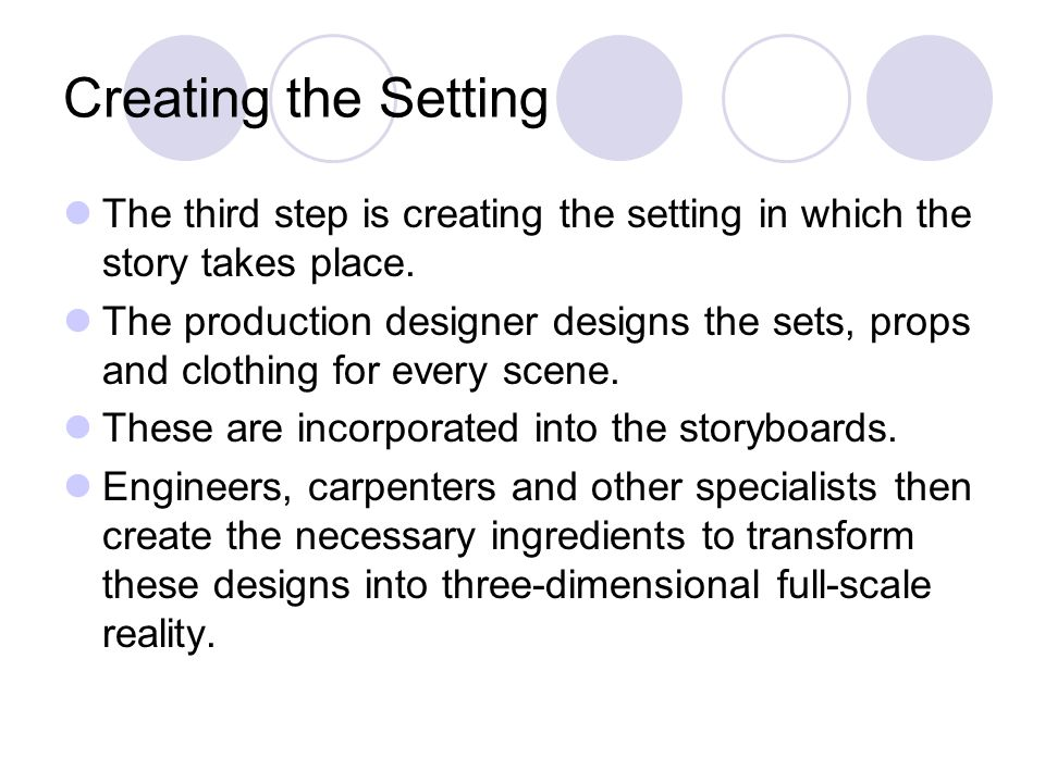 Creating the Setting The third step is creating the setting in which the story takes place.