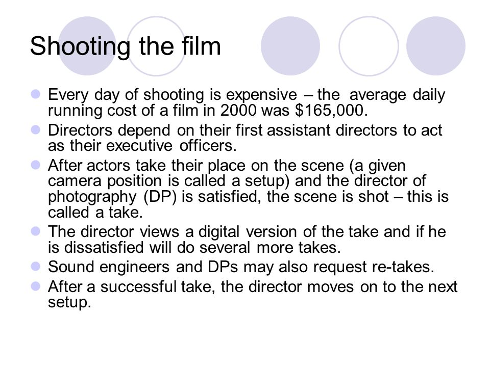 Shooting the film Every day of shooting is expensive – the average daily running cost of a film in 2000 was $165,000.