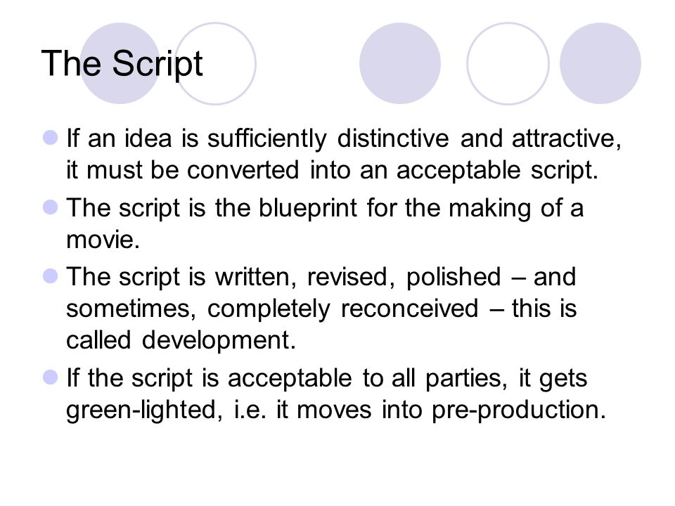 The Script If an idea is sufficiently distinctive and attractive, it must be converted into an acceptable script.