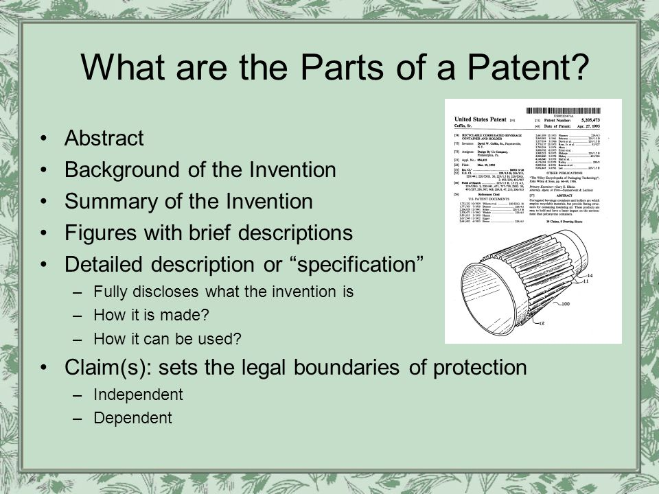 3 Different Types of Patents Utility Patent –Most common type granted –Works to produce a useful result Process (ex.