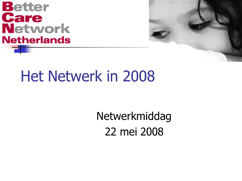 Het Netwerk in 2008 Netwerkmiddag 22 mei 2008
