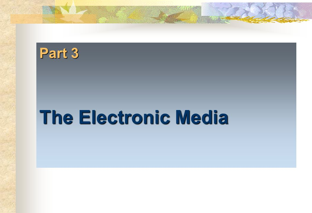 Part 3 The Electronic Media