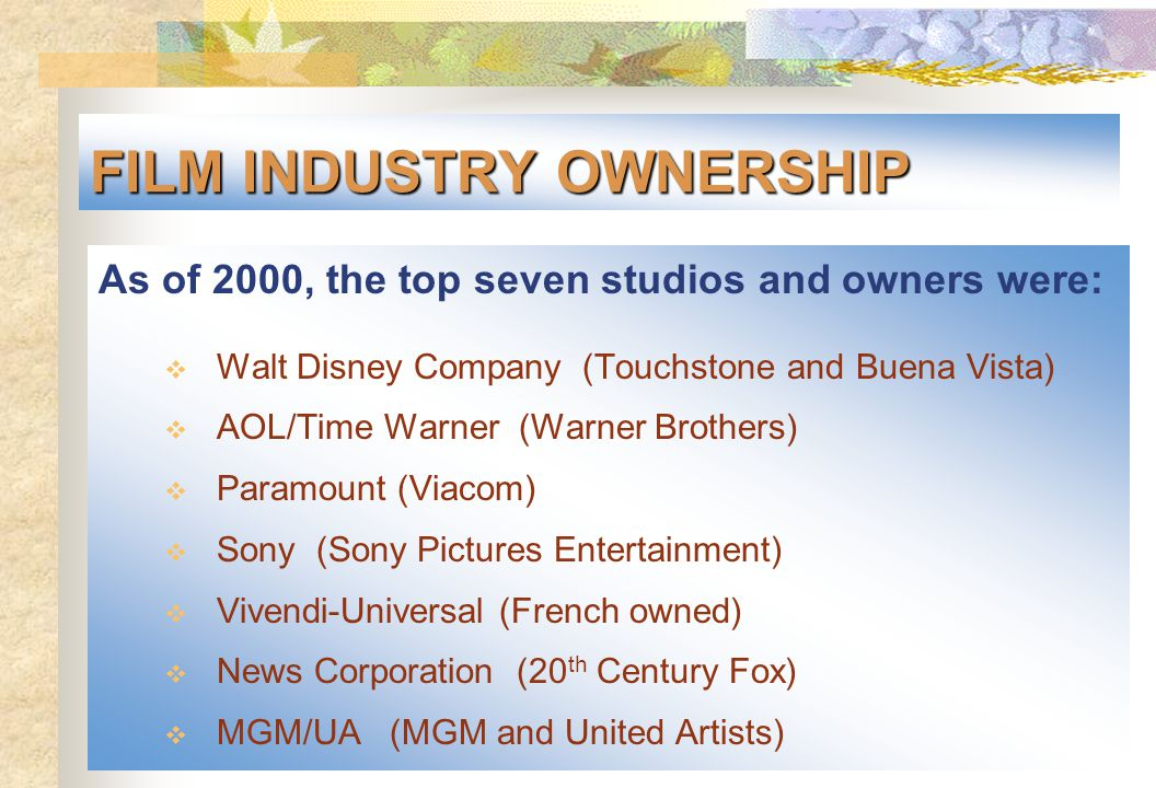 FILM INDUSTRY OWNERSHIP As of 2000, the top seven studios and owners were:  Walt Disney Company (Touchstone and Buena Vista)  AOL/Time Warner (Warne