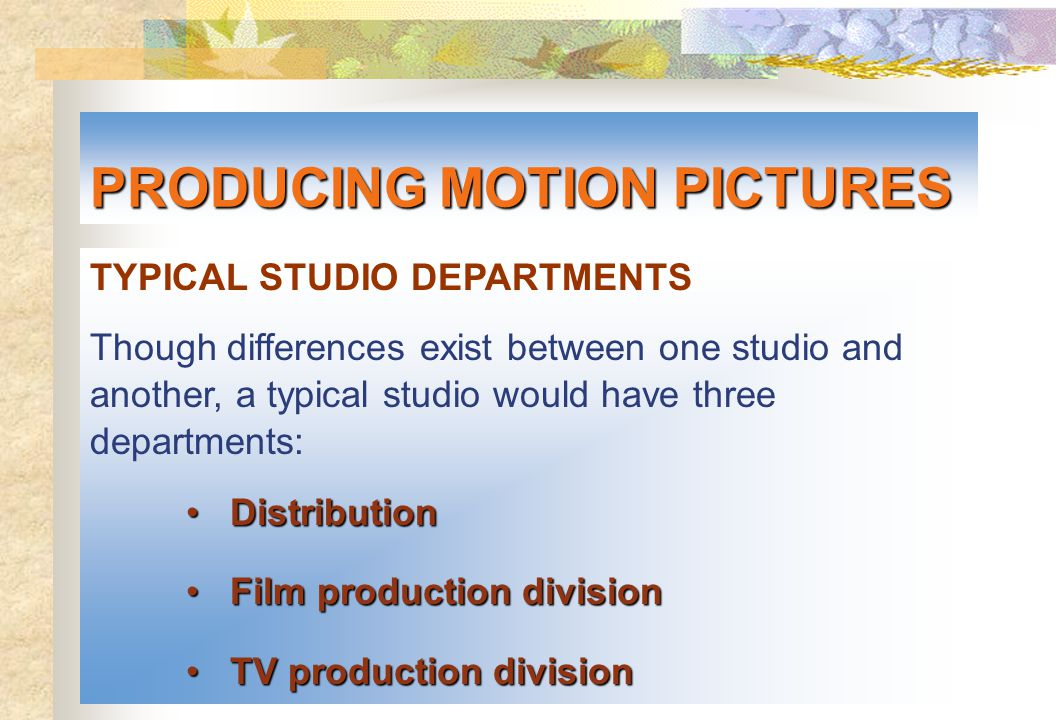 TYPICAL STUDIO DEPARTMENTS Though differences exist between one studio and another, a typical studio would have three departments: Distribution Distri