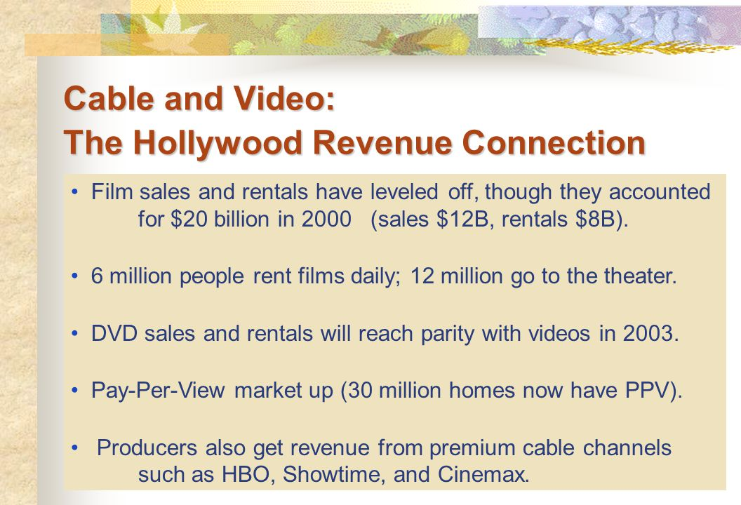 Cable and Video: The Hollywood Revenue Connection Film sales and rentals have leveled off, though they accounted for $20 billion in 2000 (sales $12B,
