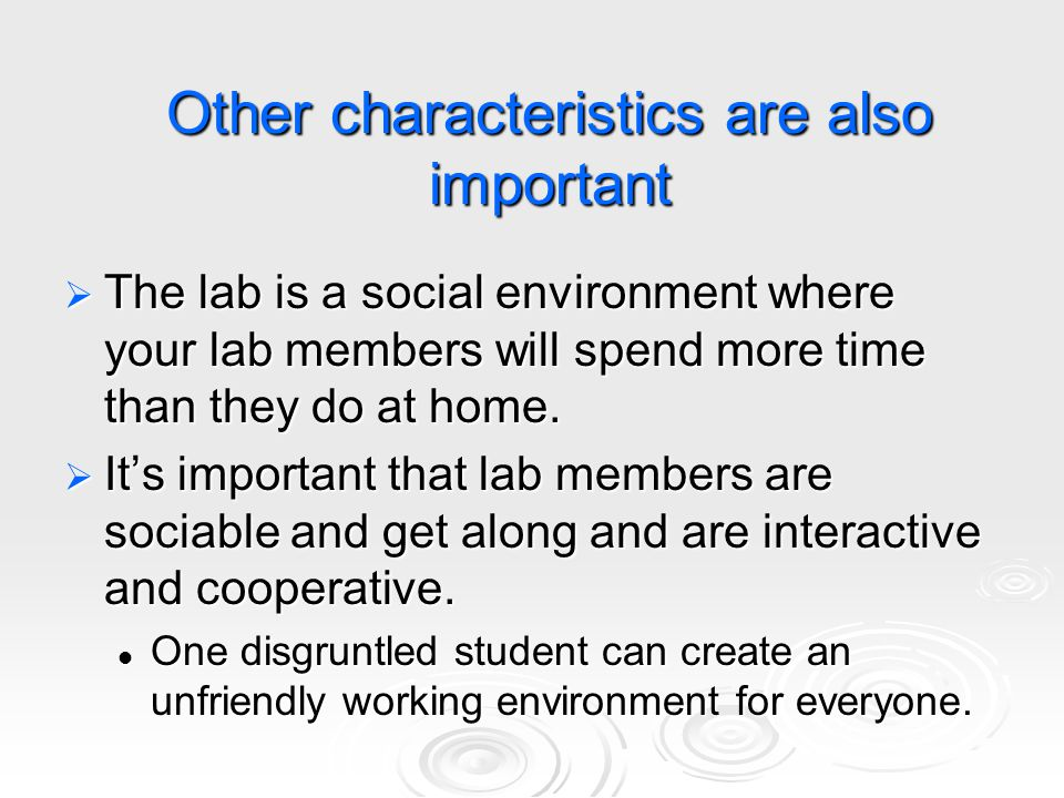 What if your lab becomes more social and less work oriented.