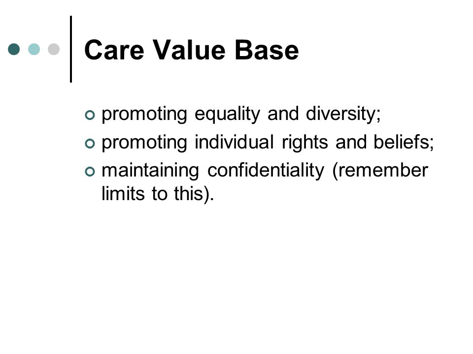 Care Value Base promoting equality and diversity; promoting individual rights and beliefs; maintaining confidentiality (remember limits to this).