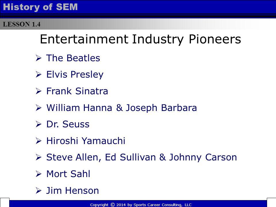 LESSON 1.4 History of SEM  The Beatles  Elvis Presley  Frank Sinatra  William Hanna & Joseph Barbara  Dr.