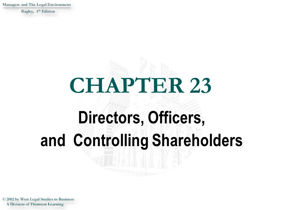 CHAPTER 23 CHAPTER 23 Directors, Officers, and Controlling Shareholders