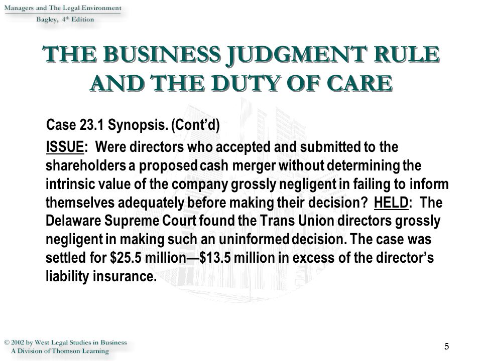REVIEW 26 1.Explain why the business judgment rule is a sound judicial policy.