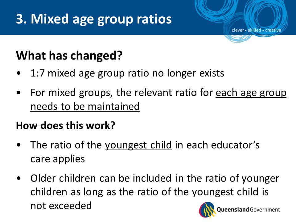 3. Mixed age group ratios What has changed? 1:7 mixed age group ratio no longer exists For mixed groups, the relevant ratio for each age group needs t