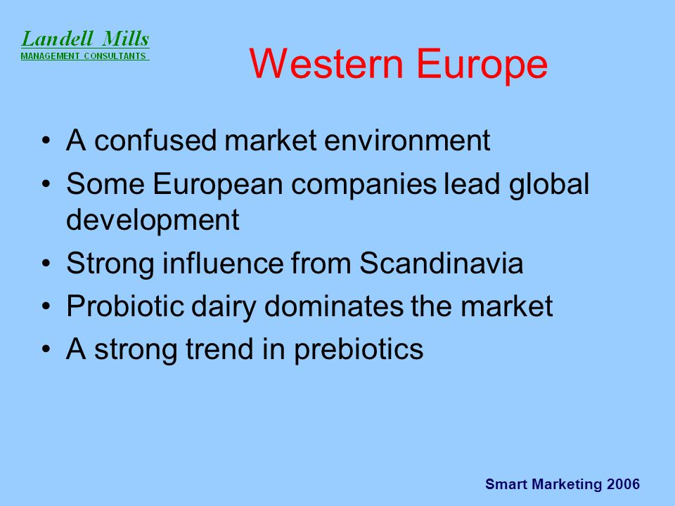 Smart Marketing 2006 Western Europe A confused market environment Some European companies lead global development Strong influence from Scandinavia Probiotic dairy dominates the market A strong trend in prebiotics