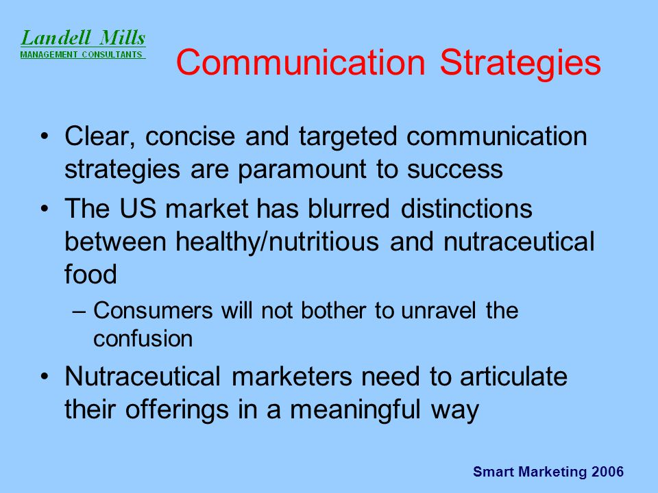 Smart Marketing 2006 Communication Strategies Clear, concise and targeted communication strategies are paramount to success The US market has blurred distinctions between healthy/nutritious and nutraceutical food –Consumers will not bother to unravel the confusion Nutraceutical marketers need to articulate their offerings in a meaningful way