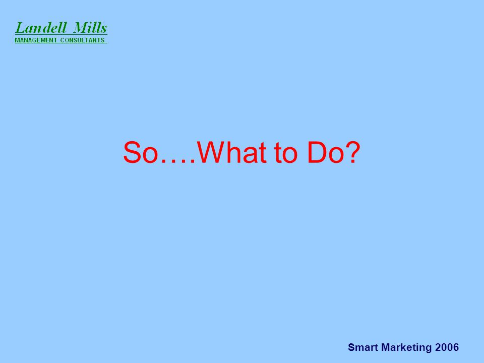 Smart Marketing 2006 So….What to Do?