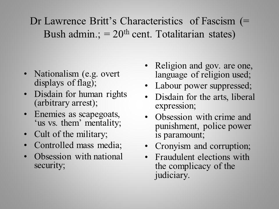 Dr Lawrence Britt's Characteristics of Fascism (= Bush admin.; = 20 th cent.