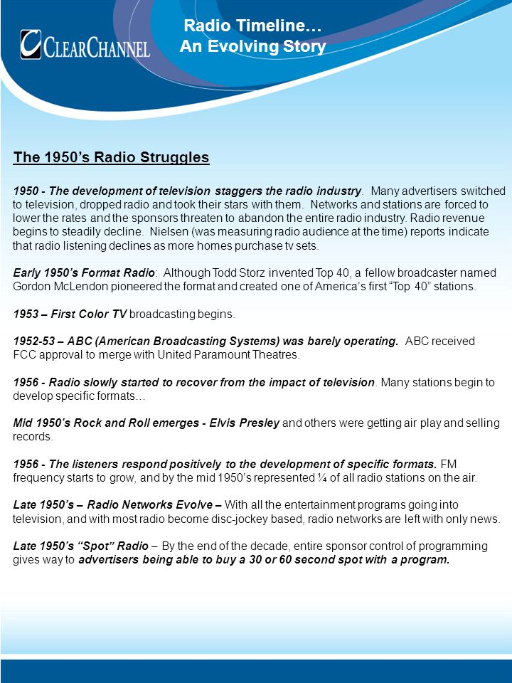 Radio Timeline… An Evolving Story The 1950's Radio Struggles 1950 - The development of television staggers the radio industry.