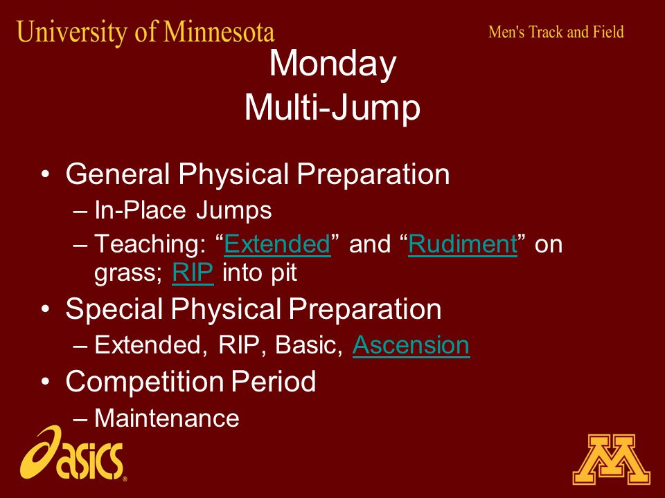 "Monday Multi-Jump General Physical Preparation –In-Place Jumps –Teaching: ""Extended"" and ""Rudiment"" on grass; RIP into pitExtendedRudimentRIP Special"