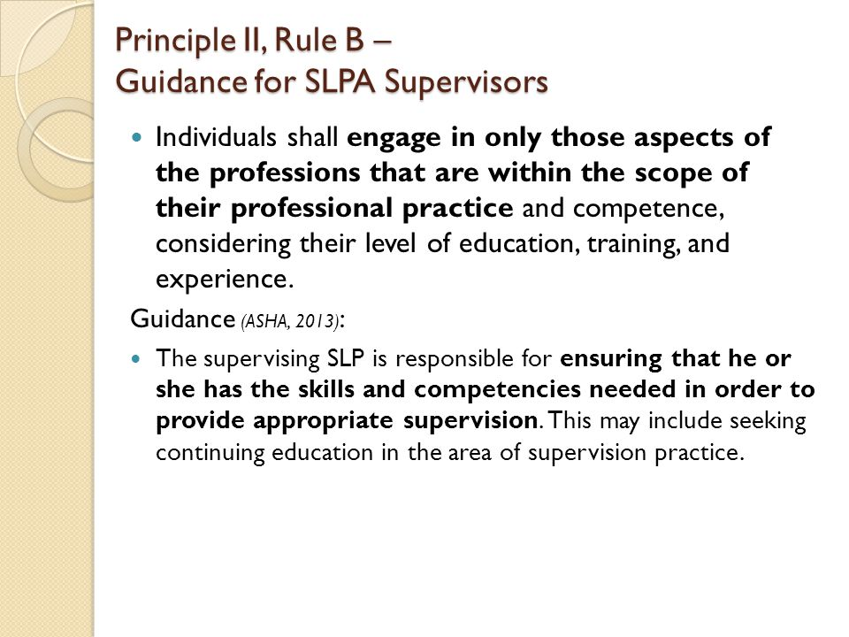 Individuals shall engage in only those aspects of the professions that are within the scope of their professional practice and competence, considering