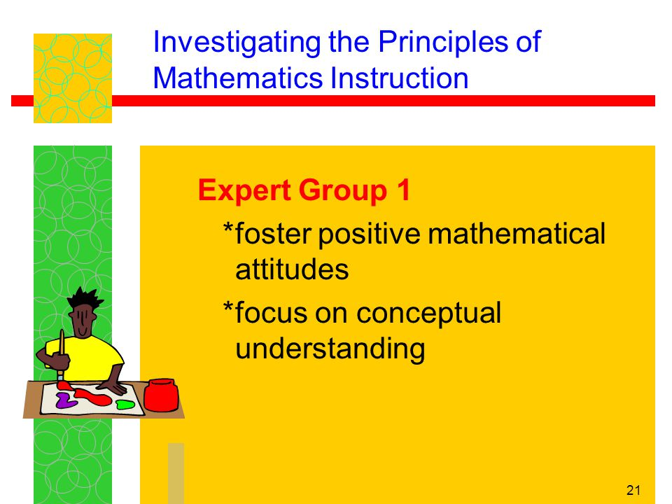 21 Investigating the Principles of Mathematics Instruction Expert Group 1 *foster positive mathematical attitudes *focus on conceptual understanding