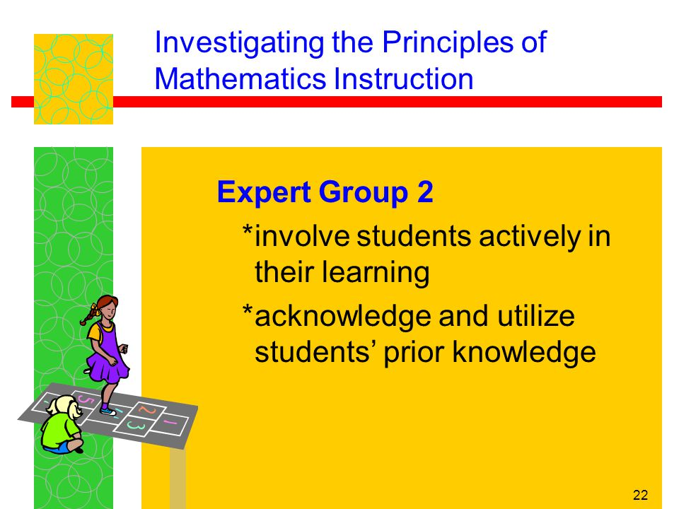 22 Investigating the Principles of Mathematics Instruction Expert Group 2 *involve students actively in their learning *acknowledge and utilize studen