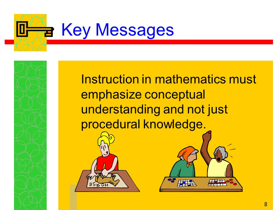 9 Key Messages In an effective program, students must be allowed to 'do' mathematics; children learn mathematics primarily through doing, talking, reflecting, discussing, observing, investigating, listening, and reasoning.