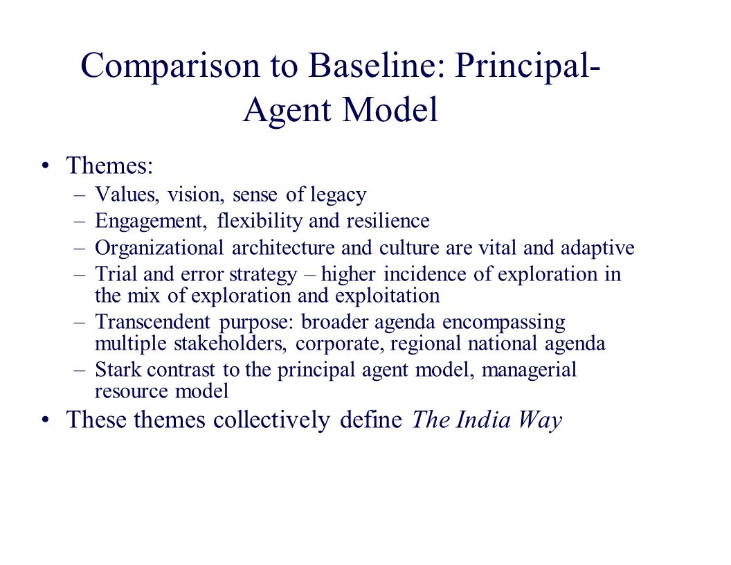 Comparison to Baseline: Principal- Agent Model Themes: –Values, vision, sense of legacy –Engagement, flexibility and resilience –Organizational architecture and culture are vital and adaptive –Trial and error strategy – higher incidence of exploration in the mix of exploration and exploitation –Transcendent purpose: broader agenda encompassing multiple stakeholders, corporate, regional national agenda –Stark contrast to the principal agent model, managerial resource model These themes collectively define The India Way