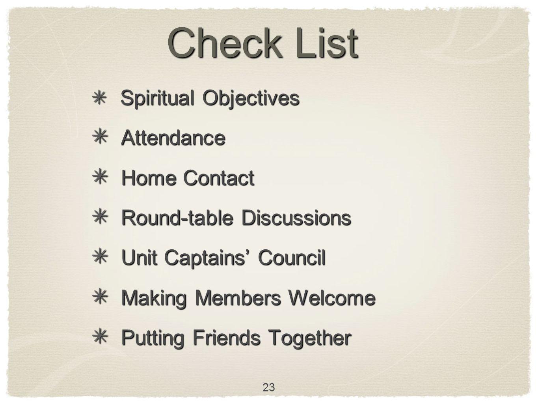 23 Check List Spiritual Objectives Spiritual Objectives Attendance Attendance Home Contact Home Contact Round-table Discussions Round-table Discussion