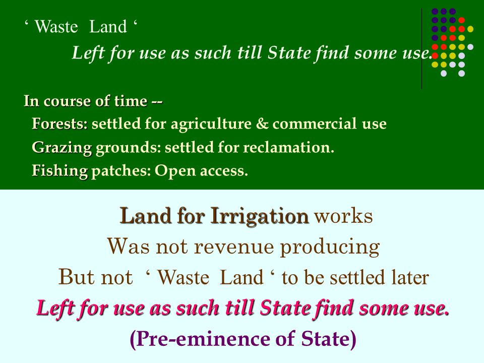 Land for Irrigation Land for Irrigation works Was not revenue producing But not ' Waste Land ' to be settled later Left for use as such till State fin
