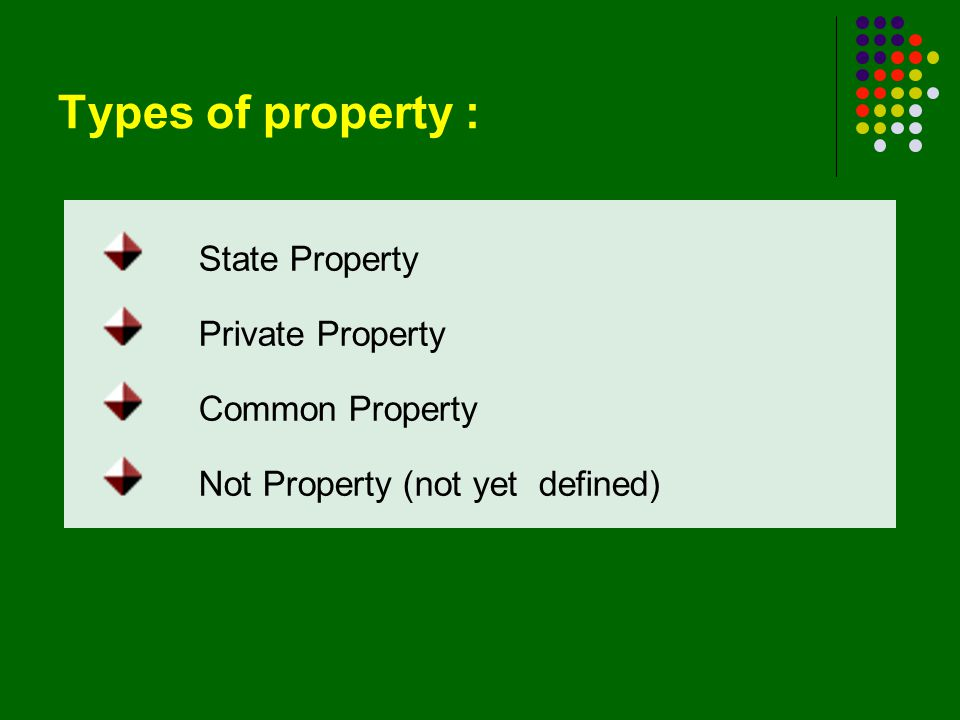 Types of property : State Property Private Property Common Property Not Property (not yet defined)