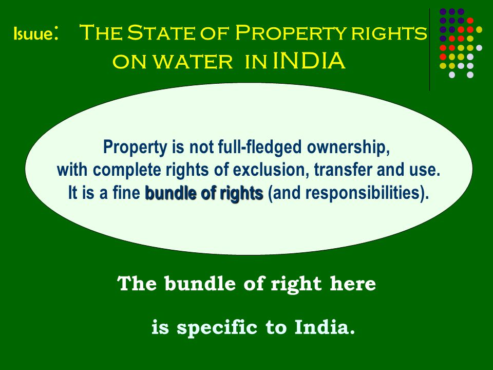 Isuue : The State of Property rights on water in INDIA is specific to India.