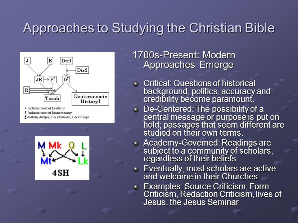 Approaches to Studying the Christian Bible 1700s-Present: Modern Approaches Emerge Critical: Questions of historical background, politics, accuracy and credibility become paramount.