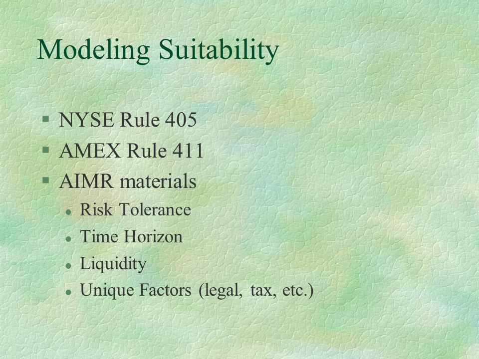 Modeling Suitability §NYSE Rule 405 §AMEX Rule 411 §AIMR materials l Risk Tolerance l Time Horizon l Liquidity l Unique Factors (legal, tax, etc.)