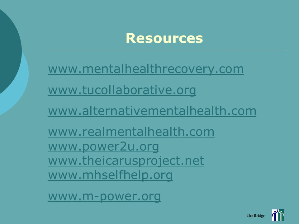 The Bridge Resources www.mentalhealthrecovery.com www.tucollaborative.org www.alternativementalhealth.com www.realmentalhealth.com www.power2u.org www.theicarusproject.net www.mhselfhelp.org www.m-power.org