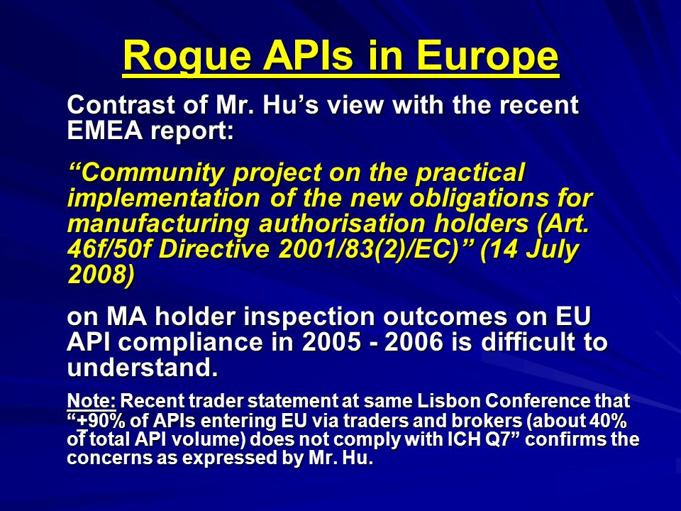 Rogue APIs in Europe Contrast of Mr.