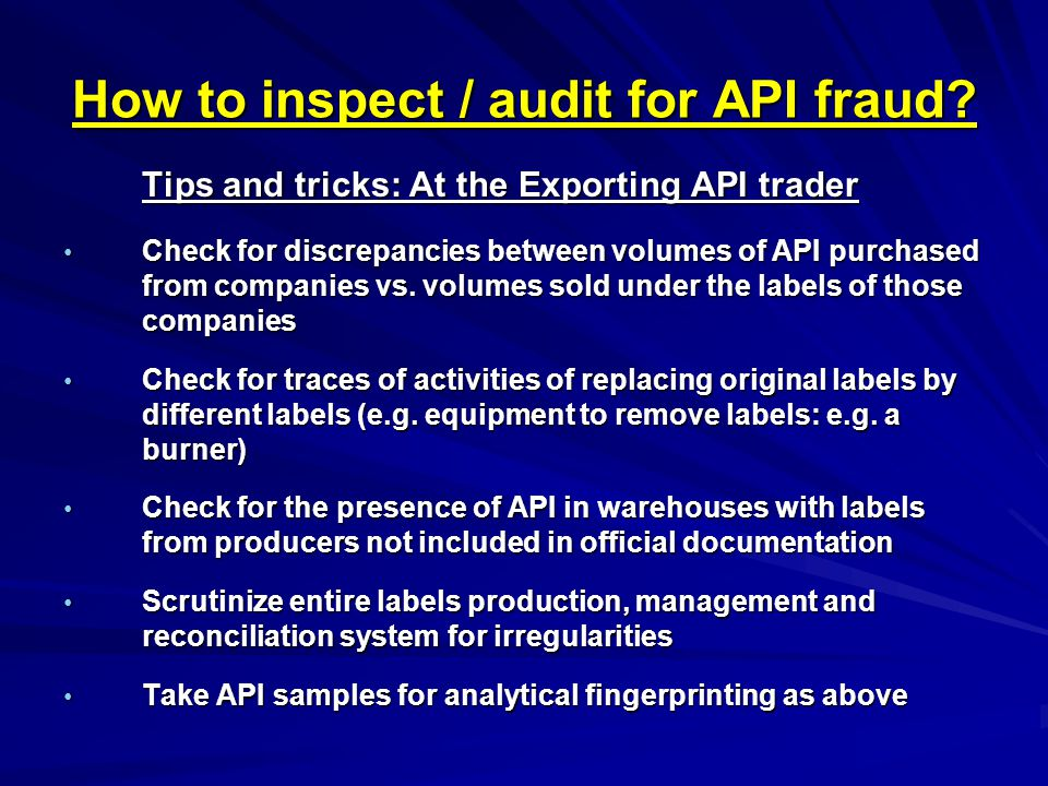 How to inspect / audit for API fraud.