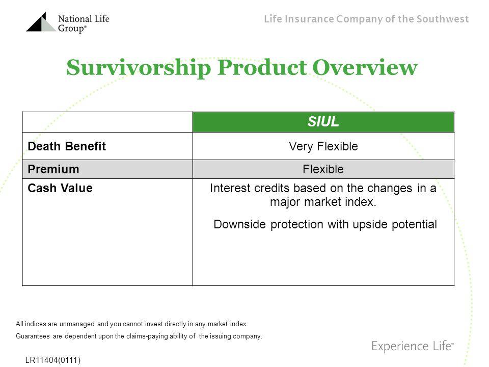 Life Insurance Company of the Southwest LR11404(0111) Survivorship Product Overview SIUL Death BenefitVery Flexible PremiumFlexible Cash ValueInterest