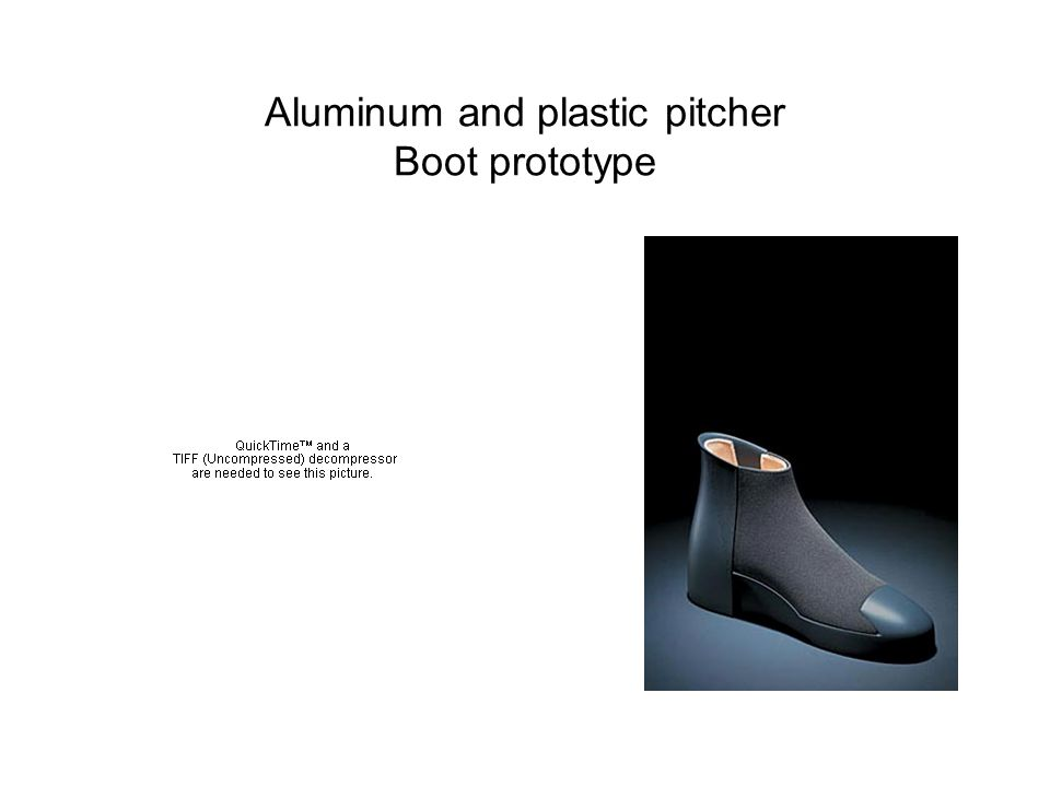 Aluminum and plastic pitcher Boot prototype