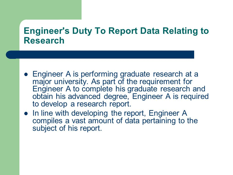 Engineer A is performing graduate research at a major university.