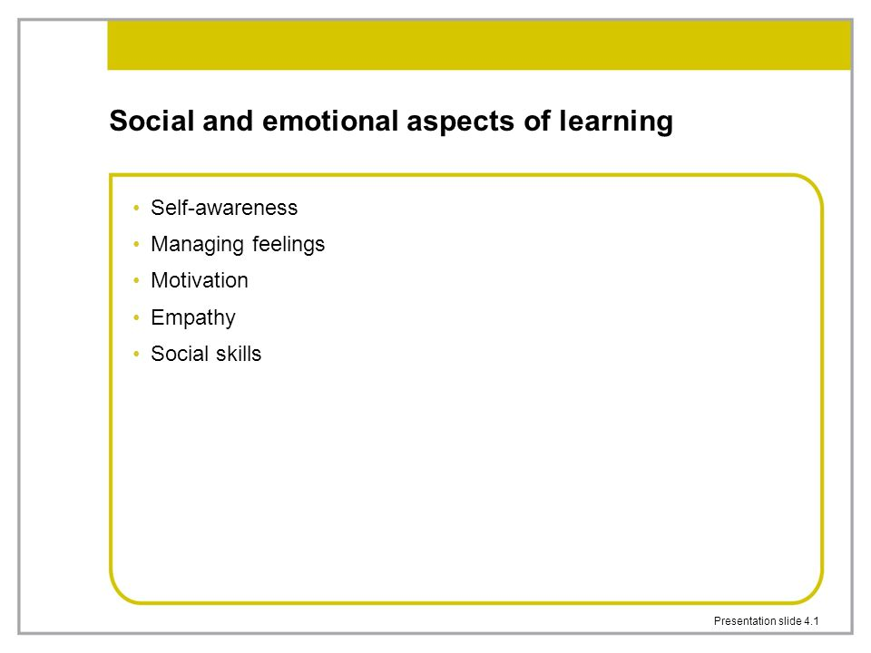 Presentation slide 4.1 Social and emotional aspects of learning Self-awareness Managing feelings Motivation Empathy Social skills