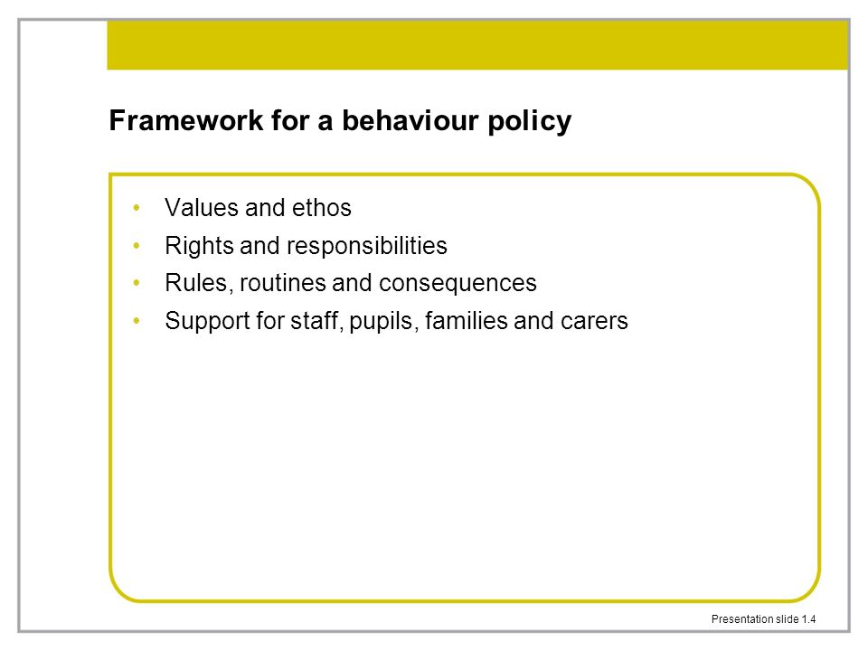 Presentation slide 1.4 Framework for a behaviour policy Values and ethos Rights and responsibilities Rules, routines and consequences Support for staf