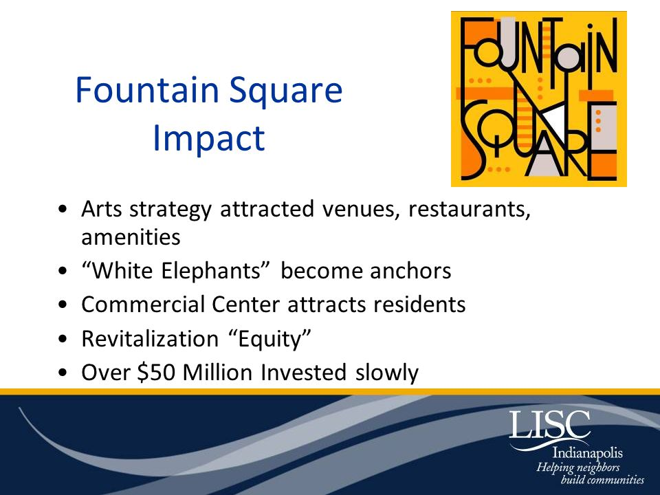 Fountain Square Impact Arts strategy attracted venues, restaurants, amenities White Elephants become anchors Commercial Center attracts residents Revitalization Equity Over $50 Million Invested slowly