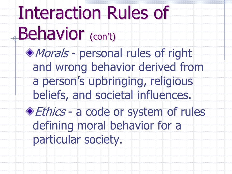 Interaction Rules of Behavior (con't) Morals - personal rules of right and wrong behavior derived from a person's upbringing, religious beliefs, and s